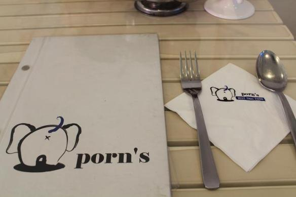 Porn's Restaurant menu and serviette