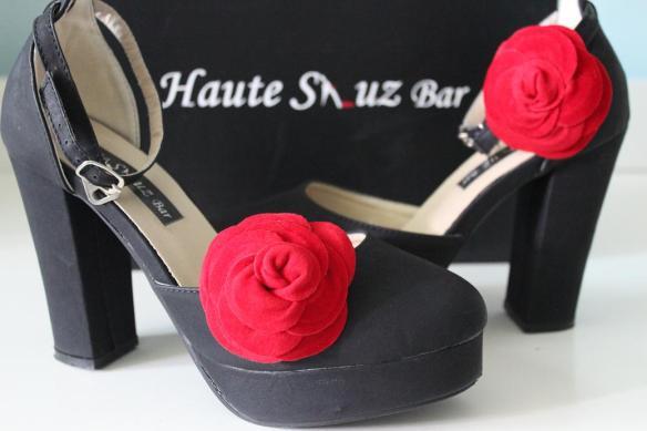 Haute Shuz Bar Black Chunky Heels