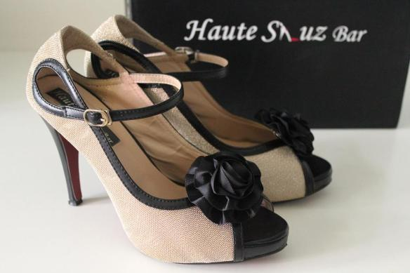 Haute Shuz Bar Gold Black Trim Heels