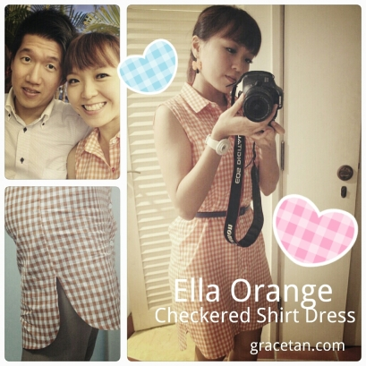 Ella Orange Checkered Shirt Dress