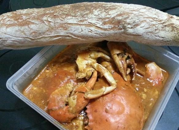 chili crab and baguette