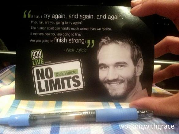 938LIVE Nick Vujicic No Limits Postcard