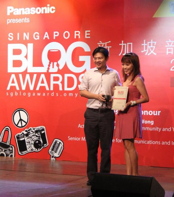 Receiving my award from Minister Lawrence Wong