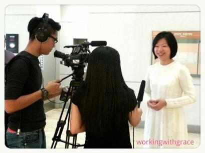 Minister Sim Ann being interviewed for Nanyang Poly on-campus TV