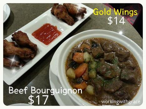 GV Gold Class Lounge Gold Wings Beef Bourguignon