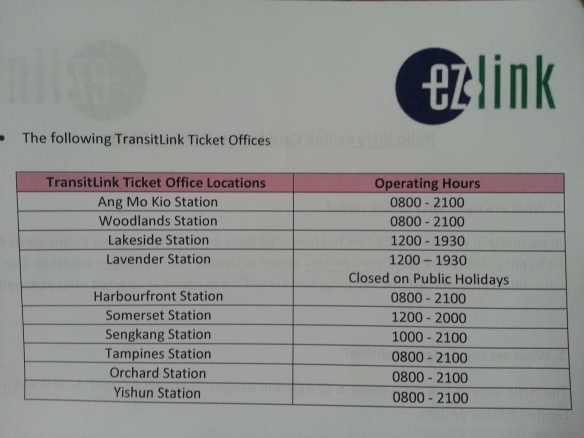 Transitlink Ticket Offices selling Hello Kitty EZ-Link cards