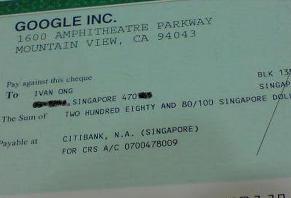 Google cheque Ivan Ong