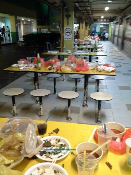 Dirtied tables at hawker centre