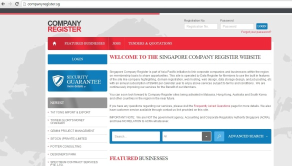 Singapore Company Register website