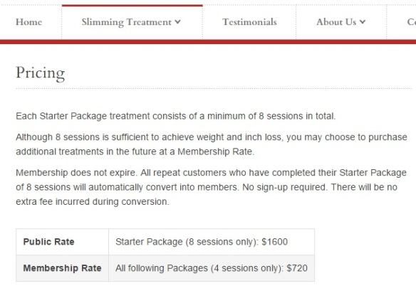 Absolute Slimming pricing