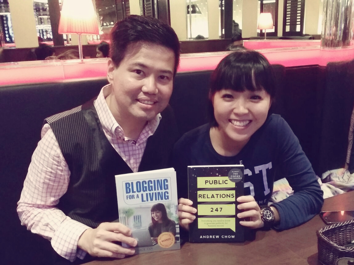 Andrew Chow with Grace Tan, blogger (Author of Blogging for a Living) and book reviewer of Public Relations 247