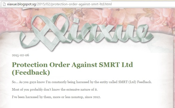 Xiaxue Protection Order blogpost