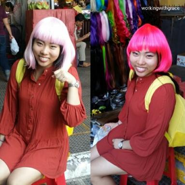 Cambodia Central Market wigs stall