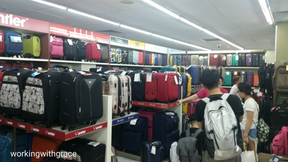 Luggage shopping at Mustafa