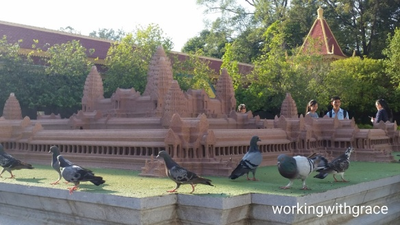 Mini angkor wat with pigeons