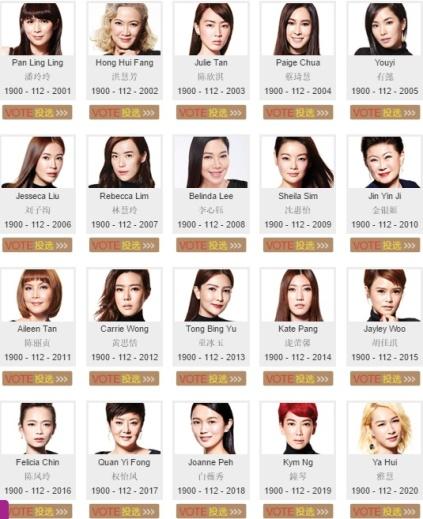 Star Awards Top 10 Most Popular Female Artiste