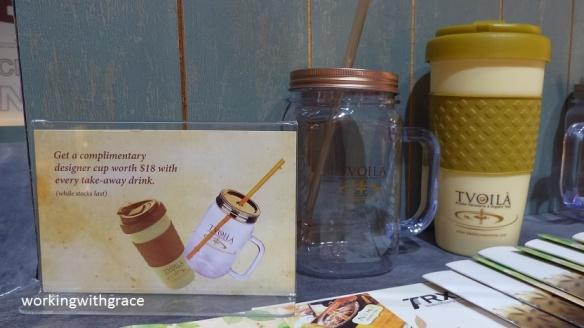 Tvoila Cafe complimentary mugs