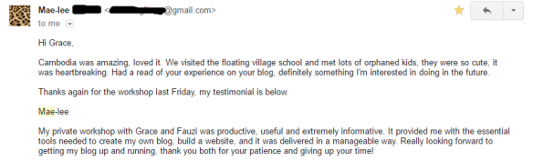 Blogging Workshop testimonial from Mae-lee
