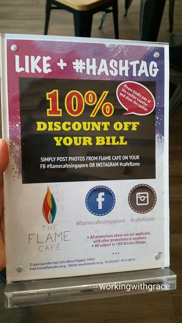 the flame cafe promotion