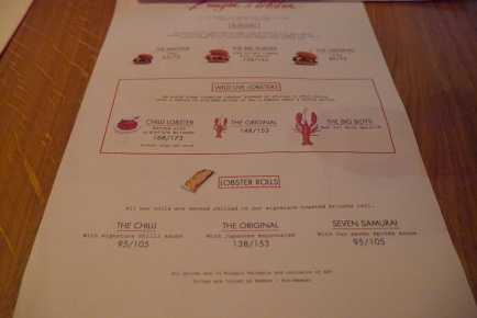 Burger and Lobster Menu