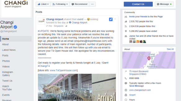 Changi Airport facebook page