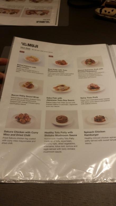 Muji Cafe Hot Deli menu