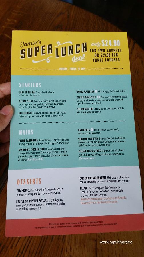 Jamie's Italian lunch menu