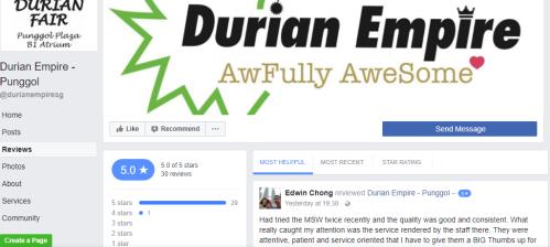 Durian Empire customer reviews