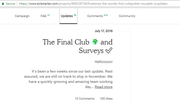final straw kickstarter update