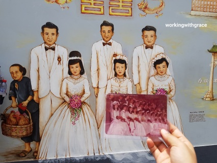 mass wedding mural and photograph