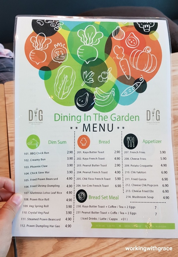 dining in the garden menu