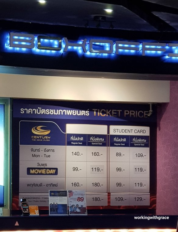 movie ticket price bangkok