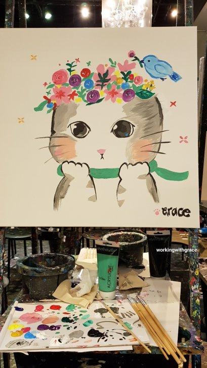 cute cat acrylic painting