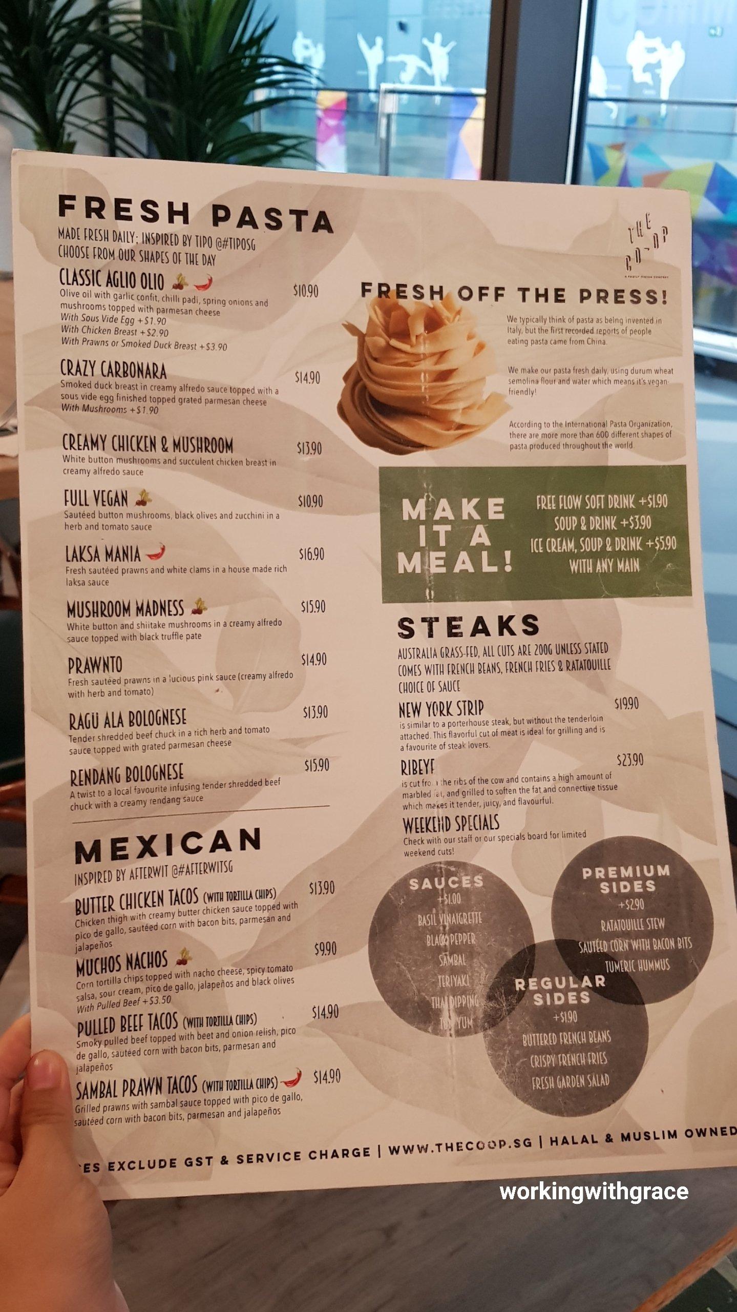 the co-op menu tampines